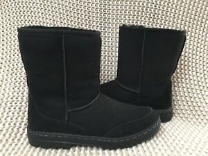 ee0532dbaec Details about UGG ULTRA SHORT REVIVAL BLACK WATER-RESISTANT SUEDE FUR BOOTS  SIZE 8 WOMENS