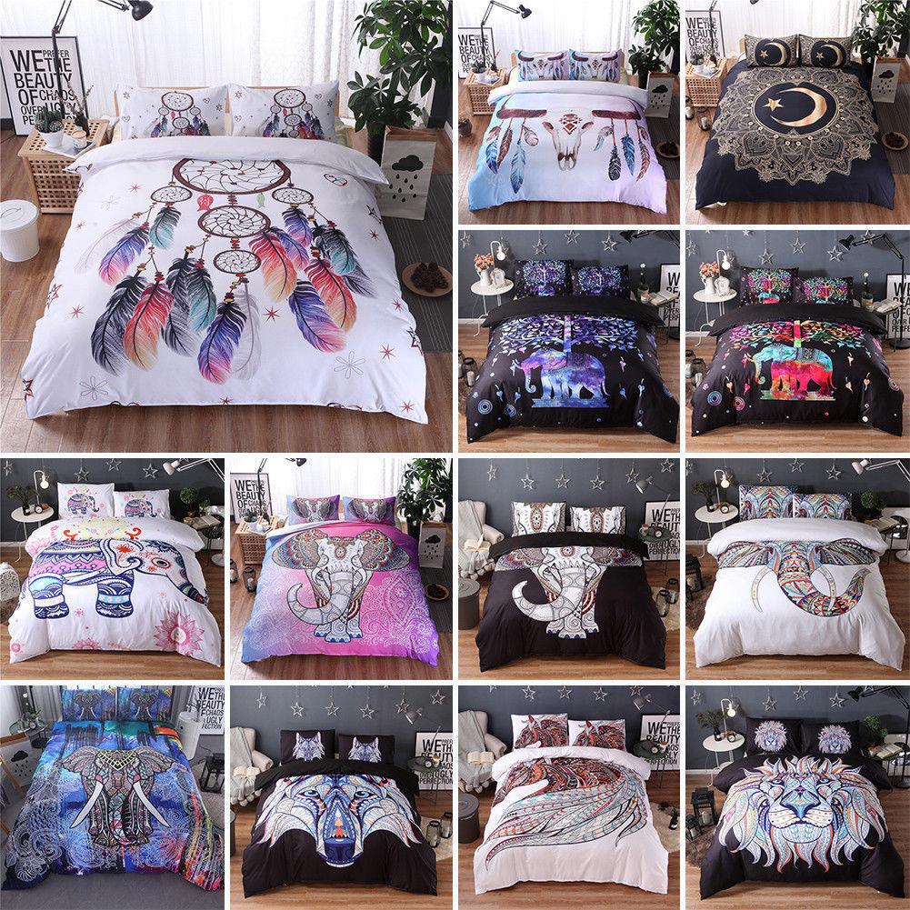 2 3Pcs Bohemia Oriental Mandala Bedding Set Duvet Cover Pillowcase AU UK CN US