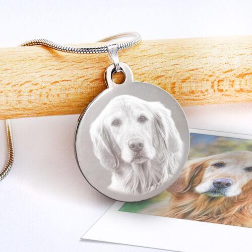 Memorial para Mascotas Collar Foto y Mensaje Grabado Colgante Redondo