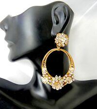 Vintage Signed Miriam Haskell Earrings Gold Clear Rhinestones Crystals Hoops