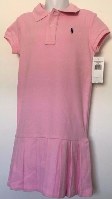 Ralph Lauren Girls Dress Polo Style Pink Pleated Bottom Navy Logo Size 6