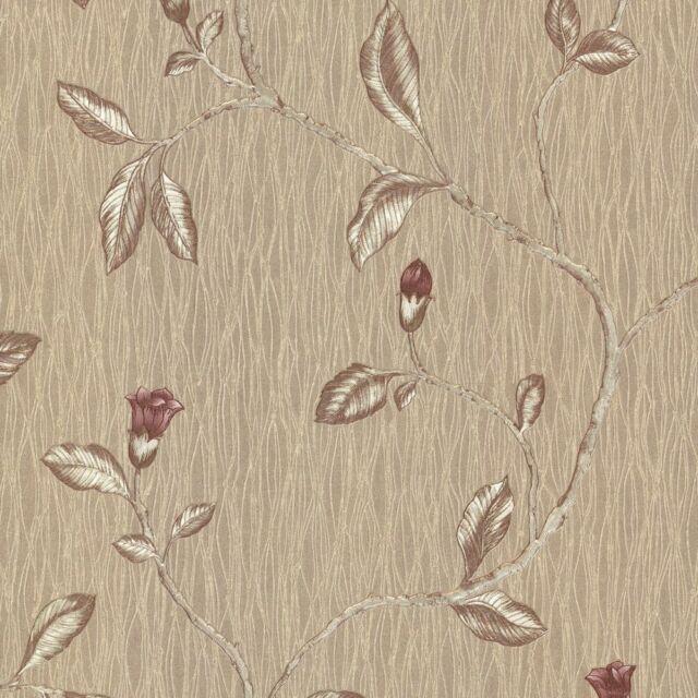 Beige Holden Decor Rosalea Floral Opus Italian Vinyl Wallpaper 35203 Red