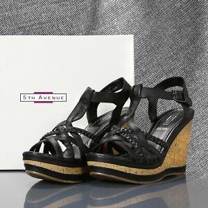 9ecd1deff3 Image is loading 5th-Avenue-Black-Leather-Ladies-Woman-Platform-Wedge-