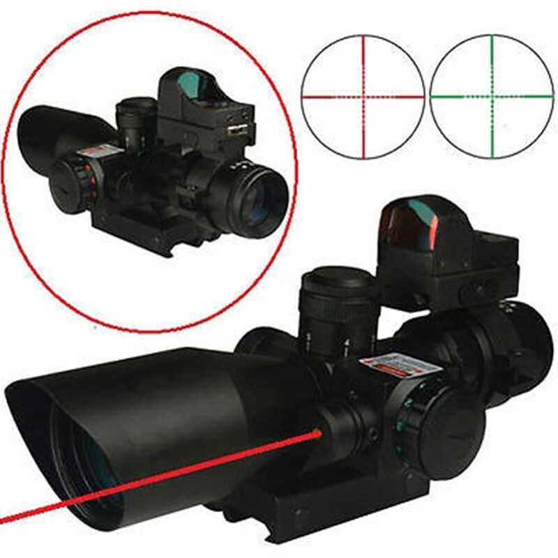 Sports Gun 2.5-10X40 Rifle Scope w/ROT Laser&Mini Reflex 3 MOA ROT Dot Sight New