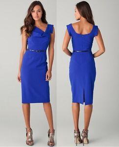 3c85cf08 NWT BLACK HALO CLASSIC JACKIE O BELTED COBALT BLUE SHEATH DRESS 0 2 ...