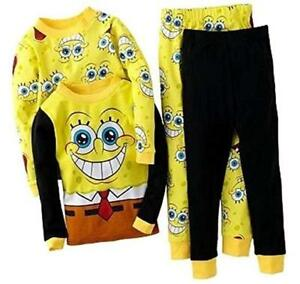 7ba889dc7 Nickelodeon Spongebob 4 PC Long Sleeve Tight Fit Pajama Set Boy Size ...