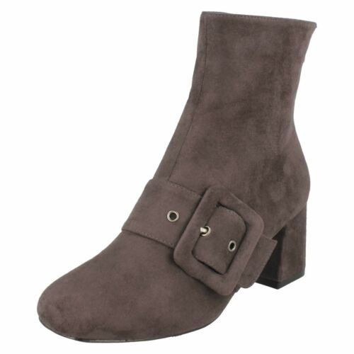 Ladies Spot On Plain Heeled *Ankle Boots*