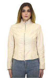 the best attitude 0a9d7 f988f Dettagli su VIETRI LEATHER - Giacca trench blazer donna - Vera Pelle ovina  vintage Bianco