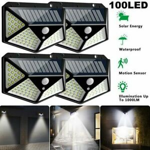100LED Solar Power PIR Motion Sensor Wall Light Outdoor Garden Lamp Waterproof J