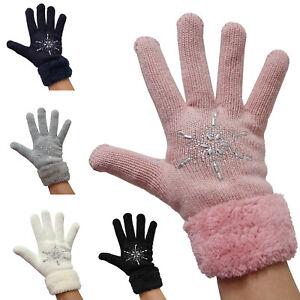 Details zu Damen Strick Stern Handschuhe innen Teddy Fell Finger Winter Strass Glitzer