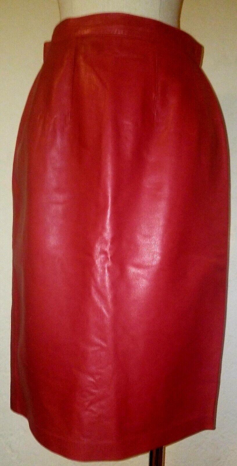 Vintage rot Leather Pencil Skirt Größe S