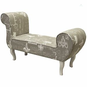 Vintage fabric bench chaise longue deluxe stool shabby for Antique chaise longue ebay