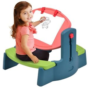 Adjustable Children Plastic Drawing Table Chair Set Height Art