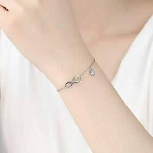 Damen-Infinity-Armband-Unendlichkeit-Armkette-Ewigkeit-Echt-Silber-925-Schmuck