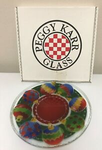 Peggy-Karr-Fused-Art-Glass-11-034-Plate-Christmas-Ornaments