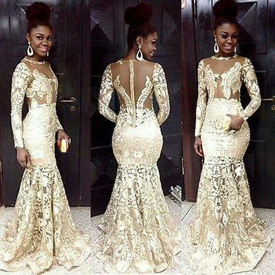 Long Sleeve Mermaid Lace Prom Dresses African Evening Party Wedding Ball Gowns 885841037473 Ebay