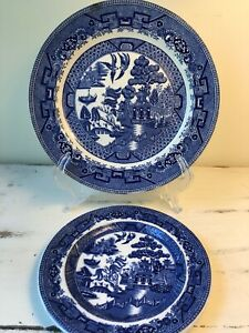 Ridgway Blue Willow by Staffordshire England Plates sold individually.