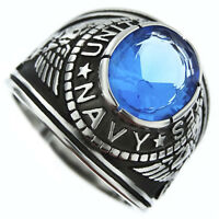 Blue Stone Navy Us Military Silver Stainless Steel Crown Top Mens Ring