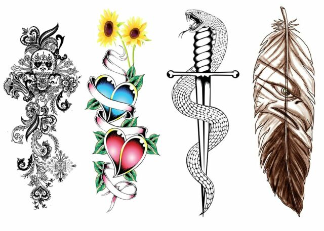 Extra Large Full Arm Temporary Tattoo Skull Sword Snake Flower Love Feather Fake