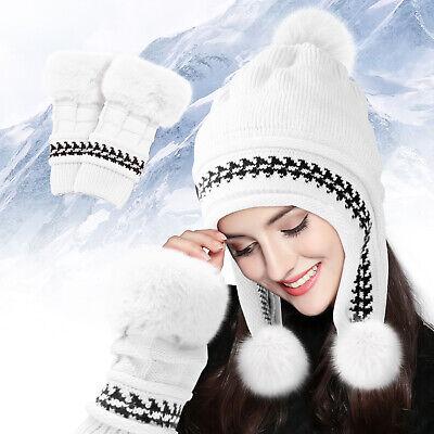 Winter Warm Knit Wool Hat Dual Ball Ear Flap with Pom Pom 100/% Wool Made Ecuador