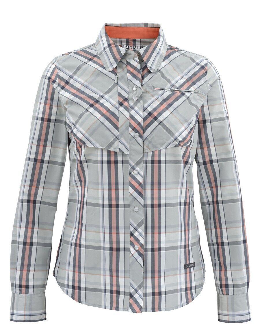 Simms Women's BIG SKY Long Sleeve Shirt  Moonstone Plaid NEW  XL  CLOSEOUT