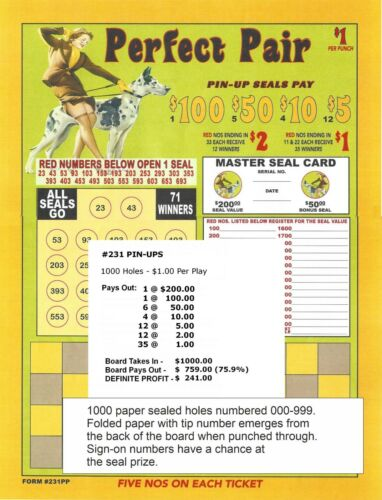 Punch Board 1000 hole PP PIN UPS $1 per 5 number punch Pull Tab  $200 seal