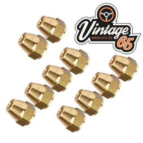 "Brass Brake Pipe Fittings 3//8/"" UNF x 24 Tpi Female Long 10 Pack For 3//16/"" Pipe"