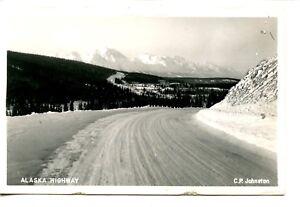 Snow-Covered-Road-Alaska-Highway-Scene-RPPC-Johnston-Vintage-Real-Photo-Postcard