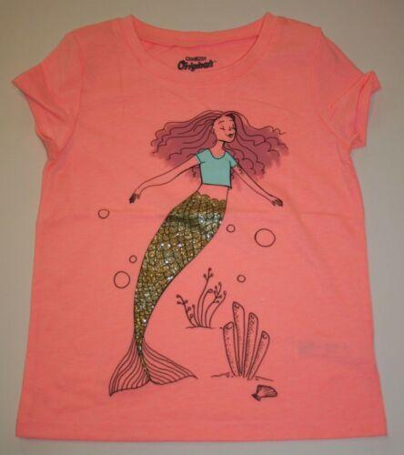New OshKosh Girls Graphic Tee Top Mermaid Gold Glitter Sparkle 5 7 10  year