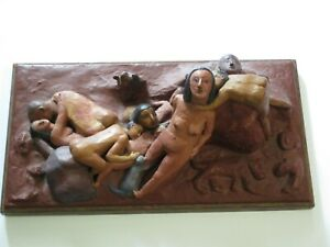 WOODS-INCREDIBLE-NUDE-EROTICA-SCULPTURE-ORGY-CUDDLE-PUDDLE-VINTAGE-PAINTING