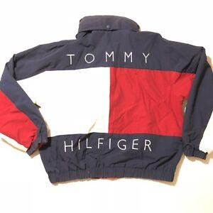 Details about Vtg 90's Tommy Hilfiger Jacket Big Flag Logo Reversible Size XL USA RETRO
