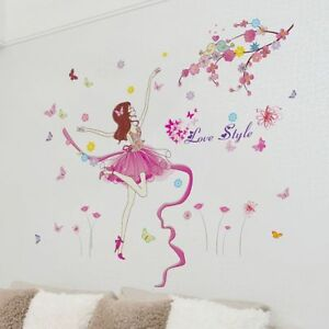 Pink-Wall-Sticker-Dancer-Wall-Decal-for-Girls-Room-Bedroom