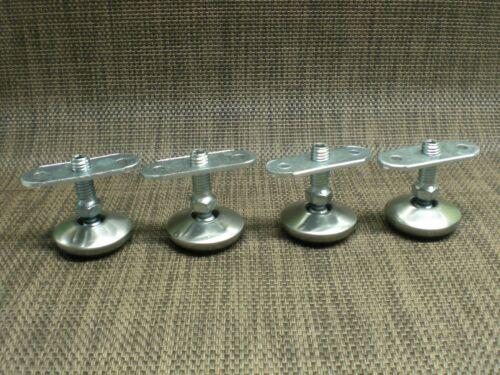 4 Stück Set Möbelfüße Montageplatte M8 Edelstahl Chrom Stellteller Höhe 4cm.