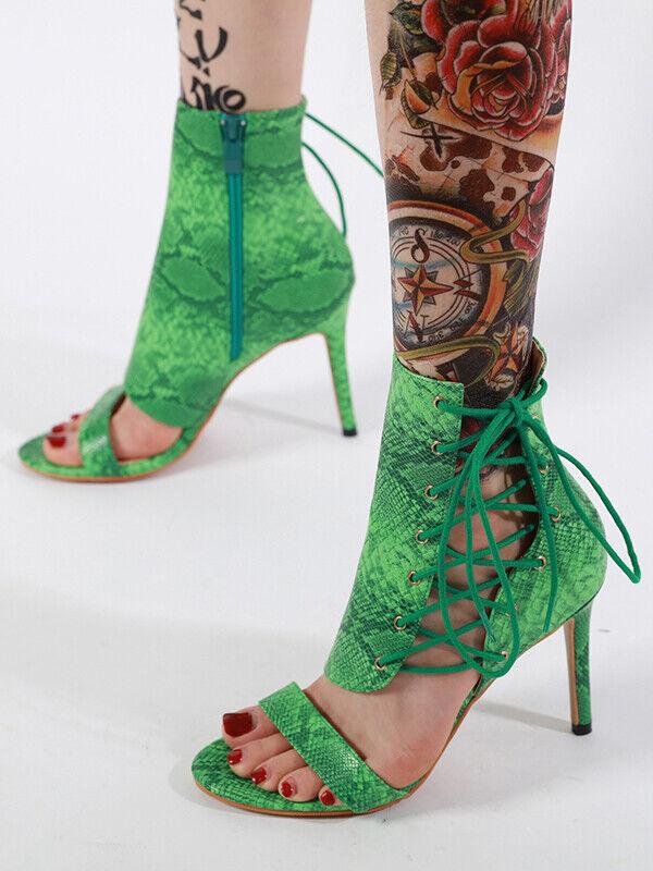Sandali stiletto eleganti tacco spillo  12 cm vert lacci pelle sintetica cw243