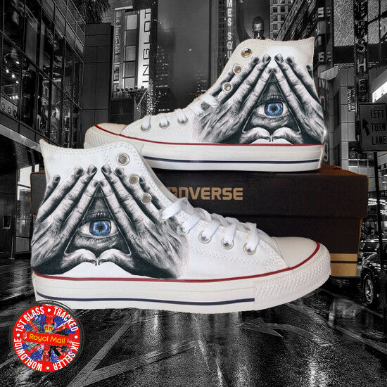 Illuminati Inspirot All Seeing Eye All Star Chuck Taylor Hi Top Converse, Mason