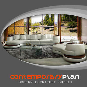 Details about Modern White Curved Sectional Sofa w/ Stand Alone Lounge  Chaise Contemporary New