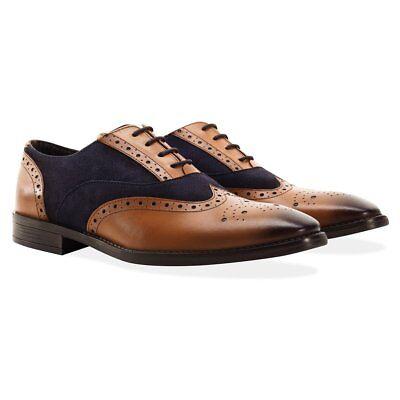 Redfoot Cuero Y Gamuza Azul Marino/tan Con Cordones Zapatos de boda UK 12/euro 46 RRP £ 90