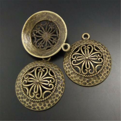 Antique Bronze Hollow Round Flower Alloy Pendants Charms DIY Jewelry 27mm 17PCS