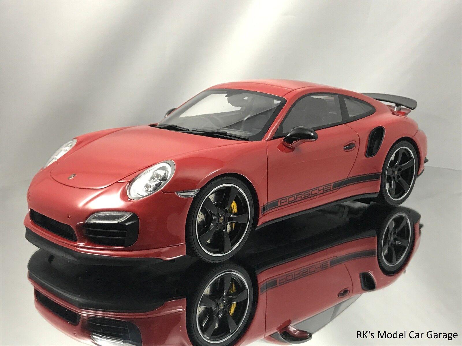 bellissima GT Spirit Porsche Porsche Porsche 911 (991) Turbos S Exclusive GB edizione Display Case rosso 1 18  buona qualità