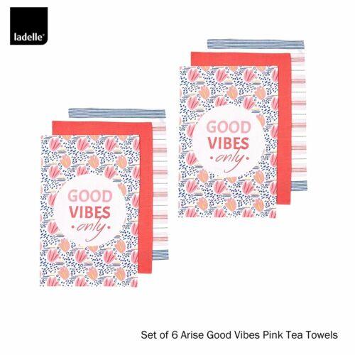 Set of 6 Ladelle Arise Good Vibes Kitchen Tea Towels 100/% Cotton 45cm x 70cm