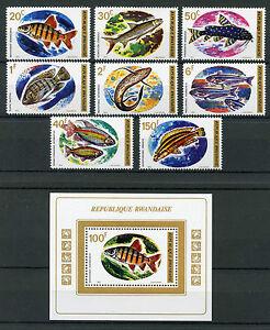 Rwanda-1973-MNH-Fish-8v-Set-1v-M-S-Fishes-Stamps