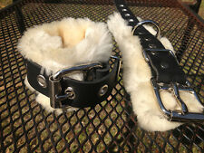 8 piece leather & real fur wrist ankle cuffs restraint set w/ collar & blindfold