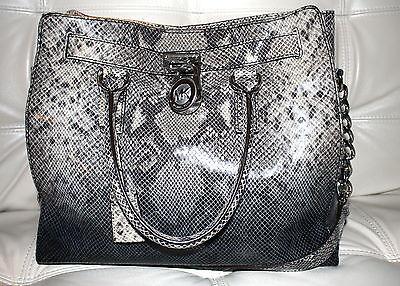 8af1883bc8fbc6 NWT Michael KORS Dark Grey Sand N/S Lg Leather Hamilton Convert Bag Travel  Tote