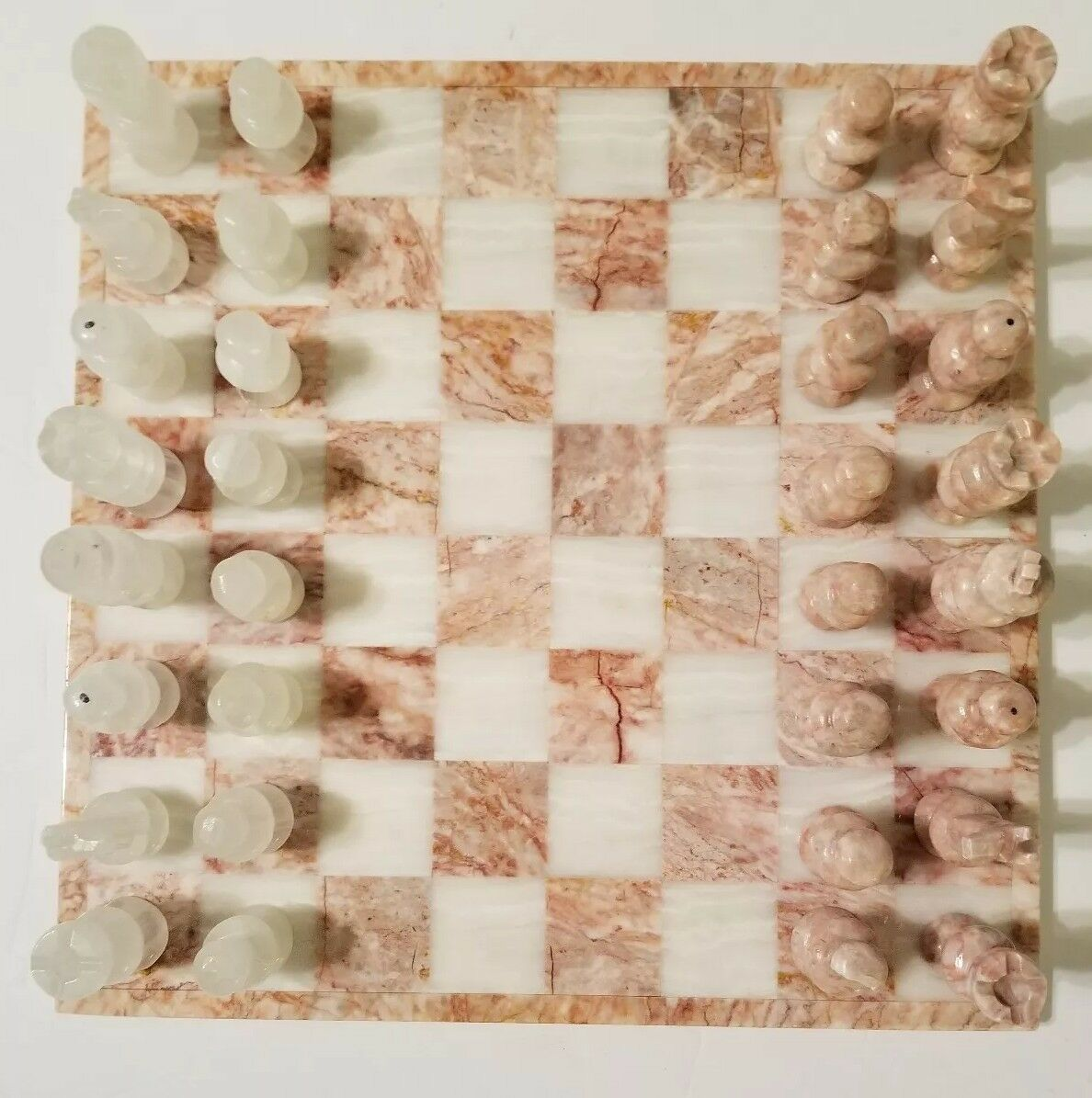 Pink And White Marble Chess Set