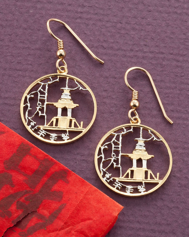 Korean Royal Temple Earrings,Hand Cut Korean Coins, 7 8  in Dia.,( E )