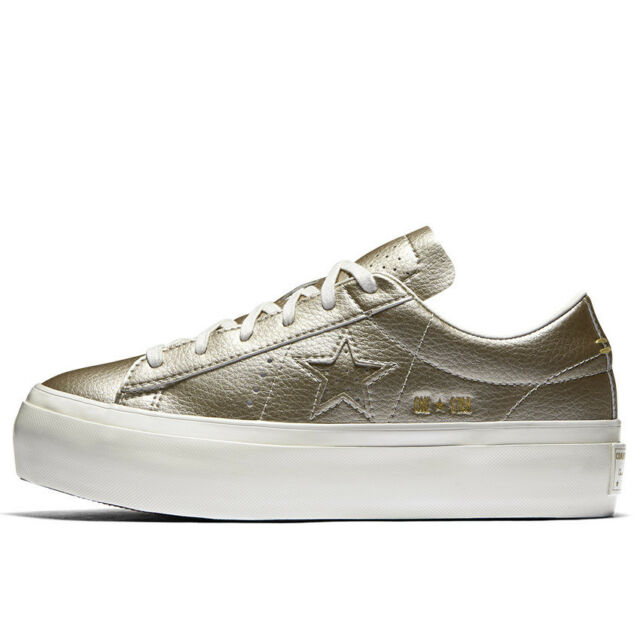c16ffa1f2fef Converse Womens Low-top Platform Leather SNEAKERS Light Gold 8 for ...