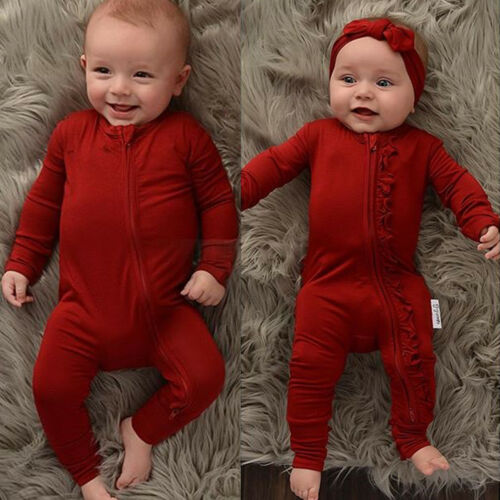 Newborn Baby Boy Girl Clothes Ruffle Romper Cotton Jumpsuit Bodysuit Outfits USA