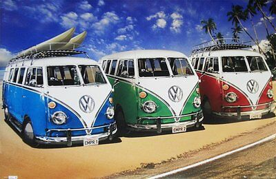 New Camper Van Trio On The Shoreline Volkswagens On The Beach Poster