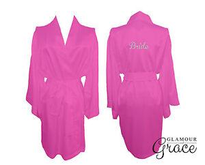 Image is loading Hot-Pink-Bridal-Bride-Bridesmaid-Wedding-Robe-Dressing- 3707e81ce