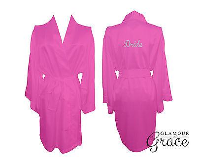 Hot Pink Bridal Bride Bridesmaid Wedding Robe Dressing Gown Satin Personalised